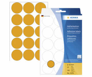 Herma Adhesive Label orange 32mm 24 Sheets 111x170 360 pc...