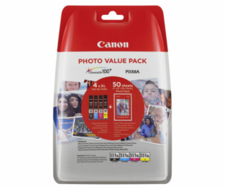 Canon CLI-551XL Photo Value Pack C/M/Y/BK PP-201 10x15 cm...
