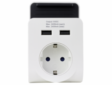 REV USB Charger 2-fold with Shelf white