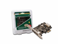 DIGITUS IEEE 1394b Interface Card, PCIexpress,, 3 Port, 2x9-Pin Extern +1 x9-Pin Intern XIO2213B chipset